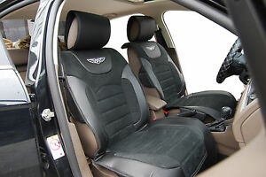 Car Seat Covers Suede W Leather Cushion Compatible To Chrysler 6802 Black