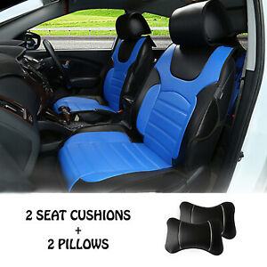 2 Front Car Seat Covers Cushion Pu Leather Compatible To Ford 6802 Bk Blue