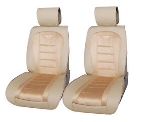 2 Car Seat Covers Cushion Suede Pu Leather Compatible To Cadillac 6803 Tan