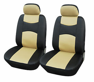 100 Pu Leather 2 Car Seat Cover For Suv Truck Van 859 Bk Tan