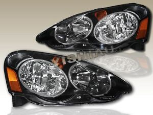 Fit For 2002 2003 2004 Acura Rsx Jdm Black Housing Headlights