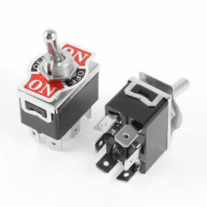 2pcs Dpdt 3 Position On off on Locking 6 Terminals Toggle Switch
