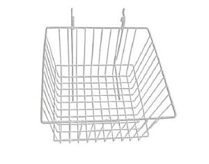 New Case Of 6 Slatwall Or Grid Basket 12 x12 x8 White
