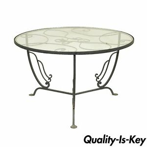 Vintage Salterini Wrought Iron Art Nouveau Deco Patio Garden Round Coffee Table