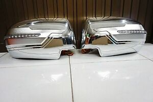Chrome Wing Mirror Cover With Blue orange Led For Mitsubishi Pajero Sport 2015