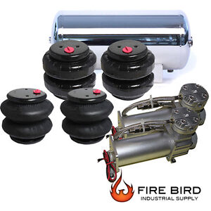 Air Ride Suspension Parts Dual Air Compressor Four Air Bags 5 Gallon Ss Tank Xzx