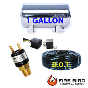1 Gallon Stainless Polish Air Tank 4pt Trainhorn Air Suspension Airhose Rpsw Xzx