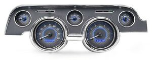 1967 68 Ford Mustang Dakota Digital Carbon Fiber Blue Vhx Analog Gauge Kit