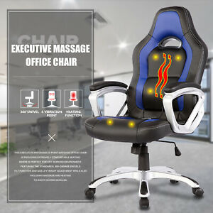 6 Point Racing Game Massage Chair Leather Ergonomic Computer Office Chair Blue
