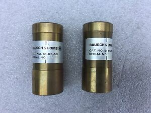 Pair Bausch Lomb 51 05 50 50x Flat Field Coated Microscope Objective Lens