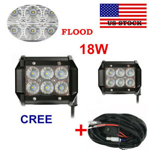 2pcs Cree 18w Led Work Light Flood Beam 4x4 4wd Offroad With Wire Harness Kit