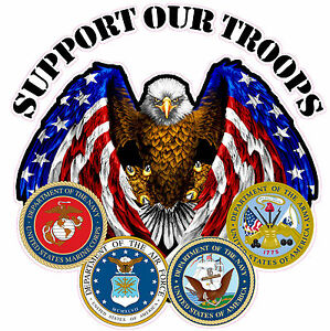 Support Our Troops Large Decal Is 10x 10 In Size