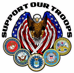 Support Our Troops Version 2 Large Decal Is 10 X 10 In Size