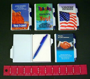 Lot Of 100 Misprint Plastic Cover Note Pad With Pen