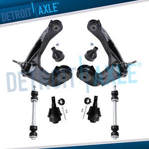 6pc Upper Control Arm W Ball Joint Set Front Sway Bar Link Pair 8 Lug Wheel