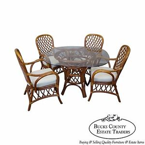 South Sea Rattan Collection Glass Top Dining Table 4 Chair Set