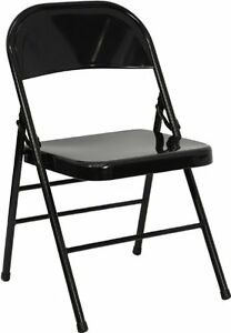 Lot Of 50 New Metal Heavy Duty Folding Chairs Black Triple Braced quad Hinged