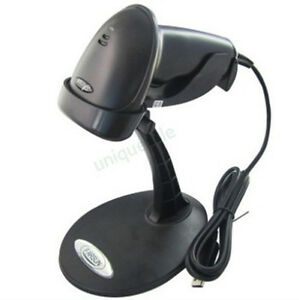 Black Handfree 9800 Usb Automatic Laser Barcode Scanner Barcode Reader W stand