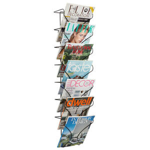 Wire Magazine Rack Storage Organizer Holder Wall Display Mount Books Newspaper