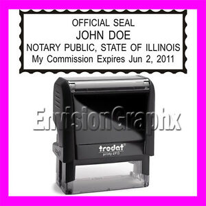 Custom Official Notary Public Illinois Self Inking Rubber Stamp T4913 Black