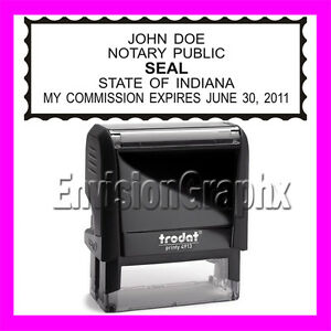 Custom Official Notary Public Indiana Self Inking Rubber Stamp T4913 Black