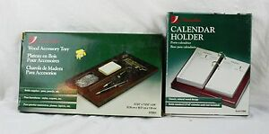Lot Of Office Supplies Swingline Dark Wood Organizing Tray And Calendar Holder