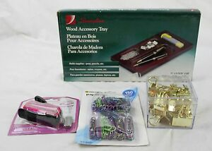 Lot Office Supplies Swingline Wood Organizing Tray Binder Paper Clips Stapler