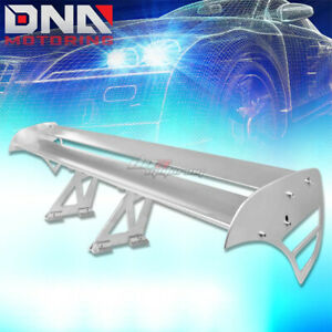 Gt Style 55 Light Powder Coated Trunk Double Deck Racing Spoiler Wing Silver