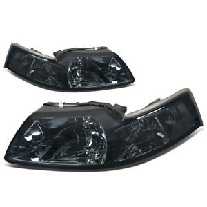Fit 1999 2004 Ford Mustang Pair Smoked Housing Clear Corner Headlight Lamp Set