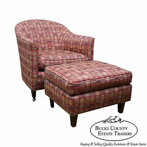 Quality Newly Upholstered Barrel Back Lounge Chair W Ottoman