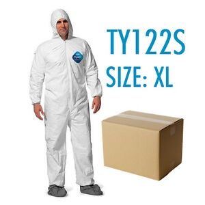 Case Of 25 Dupont Tyvek Coverall Bunny Suite With Hood And Boots Ty122s Xl