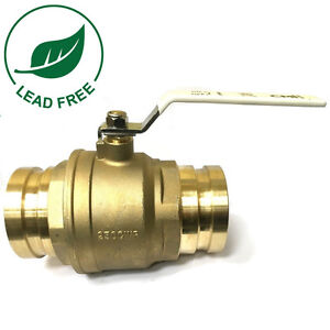 4 Full Port Brass Press Shut off Ball Valve Lead Free 250psi Wog Ss Ball