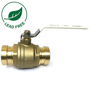 2 1 2 Full Port Brass Press Shut off Ball Valve Lead Free 250psi Wog Ss Ball