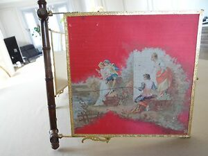 Antique Lovely French Tri Fold Shaving Mirror Signed Painted Silk Gallant Scene