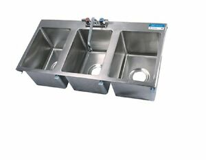 Three Compartment Drop In Sink W Faucet Bbk dis 1014 3 p g