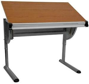 New Adjustable Drawing And Drafting Table With Pewter Frame