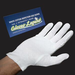 6 Pairs White Coin Jewelry Silver Inspection Cotton Lisle Gloves Size Large