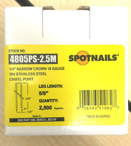 Spot Nails Spot Nails 4805ps 18 Gauge304stainless Steel Staples With 1 4 inch