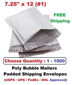 1 7 25x12 Poly Bubble Mailers Padded Shipping Envelopes Bags 1 5 25 50 100 1000