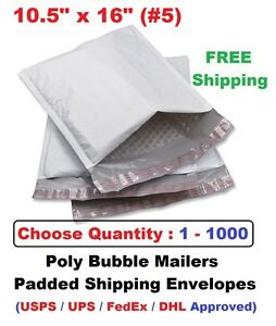 5 10 5x16 Poly Bubble Mailers Padded Shipping Envelope 1 5 10 20 25 50 100 1000