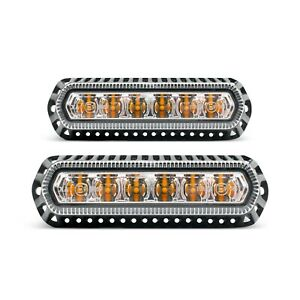 Pair Of 6 Led Surface Mount Ip67 Emergency Strobe Lights 10 30 Volts Dc