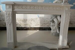 Hand Carved Marble French Fireplace Mantel White With Rosette Carvings 6244