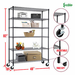 82 x48 x18 Heavy Duty 6 Tier Layer Wire Shelving Rack Steel Shelf Adjustable