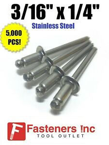 Pop Rivets All Stainless Steel 6 4 3 16 X 1 4 Grip Qty 5 000