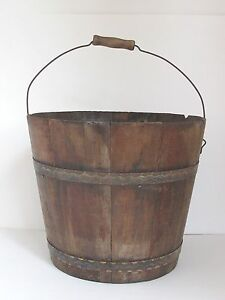 Antique American Wood Bucket Paint Decorated Bands