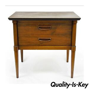 Vintage Mid Century Modern Lane One Drawer Side End Table Walnut Laminate Danish