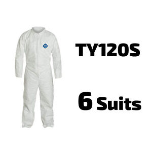 6 Suits Dupont Disposable Tyvek White Coverall Open Wrists Ankles Ty120s