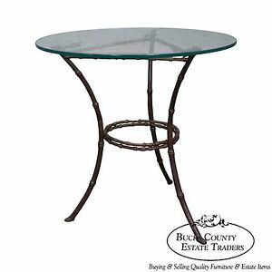Brass Glass Faux Bamboo Round Small Side Table