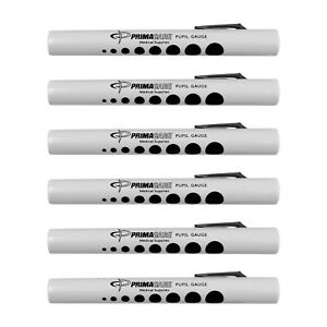 6 Disposable Medical First Aid Diagnostic Penlights With Pupil Gauge
