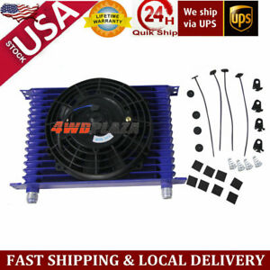 15row 10an Racing Universal Engine Transmission Oil Cooler 7 Electric Fan Kit